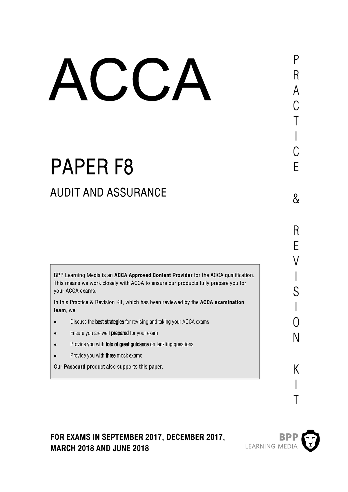ACCA F8 BPP 2018 revision kit - MFC - StuDocu