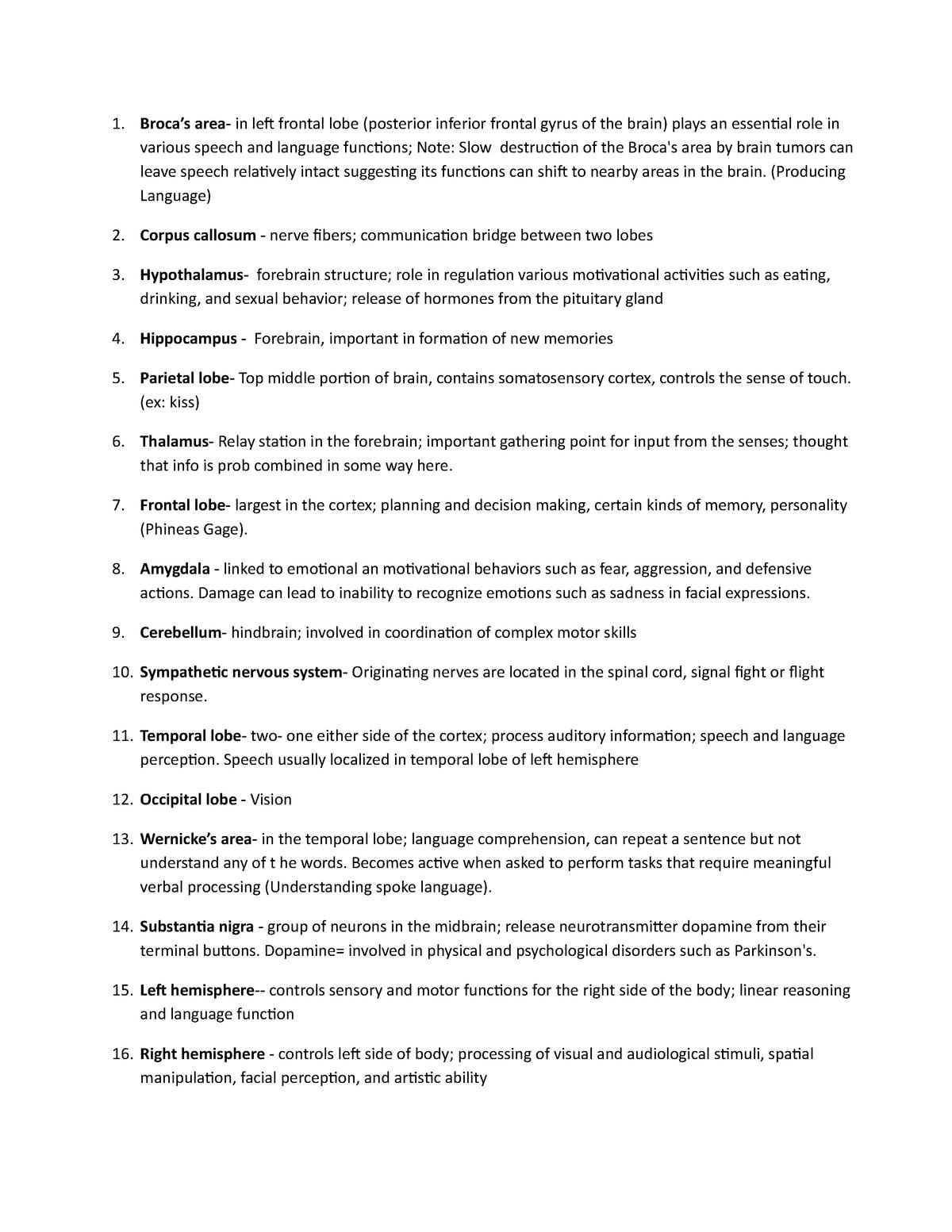 Brain regions cheat sheet - PSY 12000: Elementary Psychology