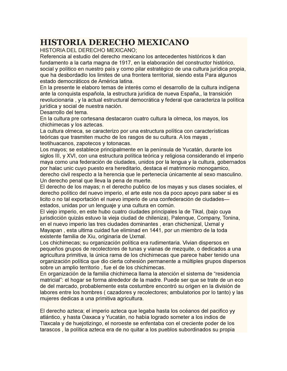 Ensayo Historia Del Derecho Mexicano Sociologia Juridica