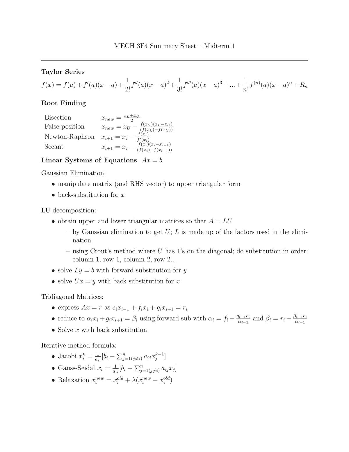 Mt1 summary sheet - Mech Eng 3E05: Mechanical Engineering