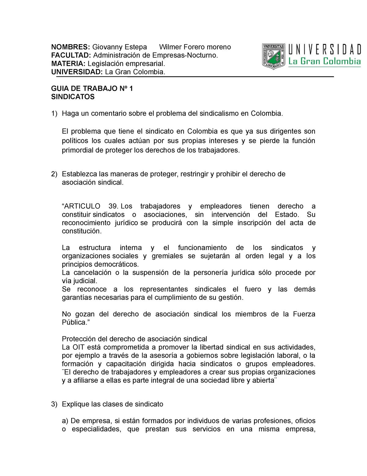 Guia 1 Sindicatos Legislación Empresarial Ugc Studocu