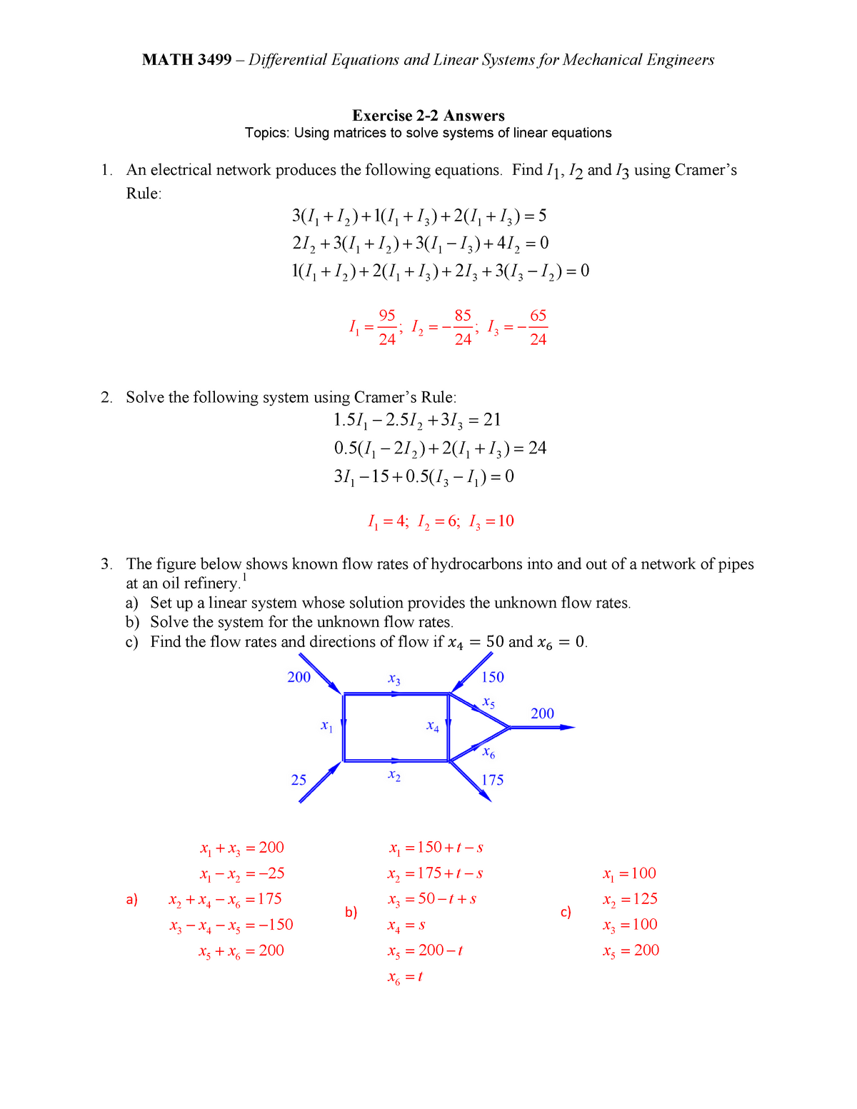 Exercise 2-2 - Answers - MATH 3499: Ordinary Differential Equations