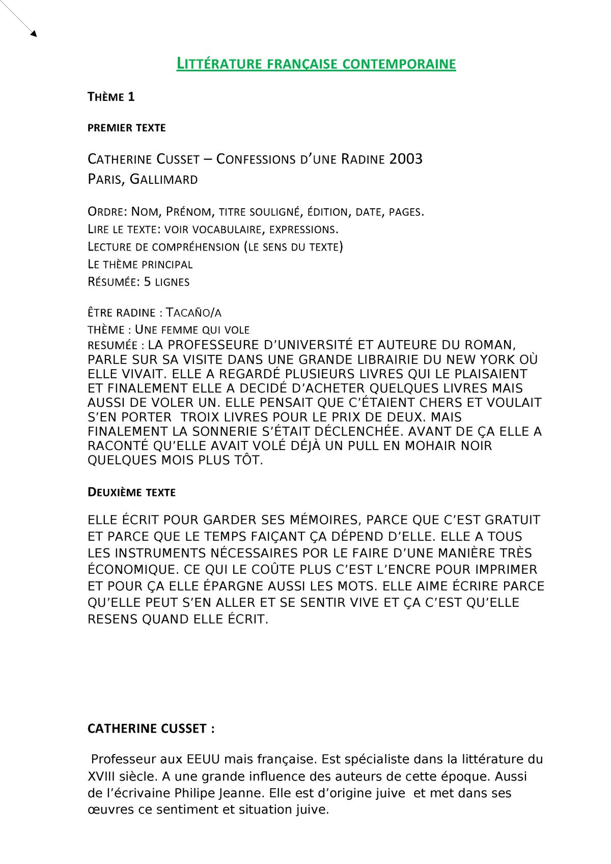 Litterature Française Contemporaine 30514 Ua Studocu