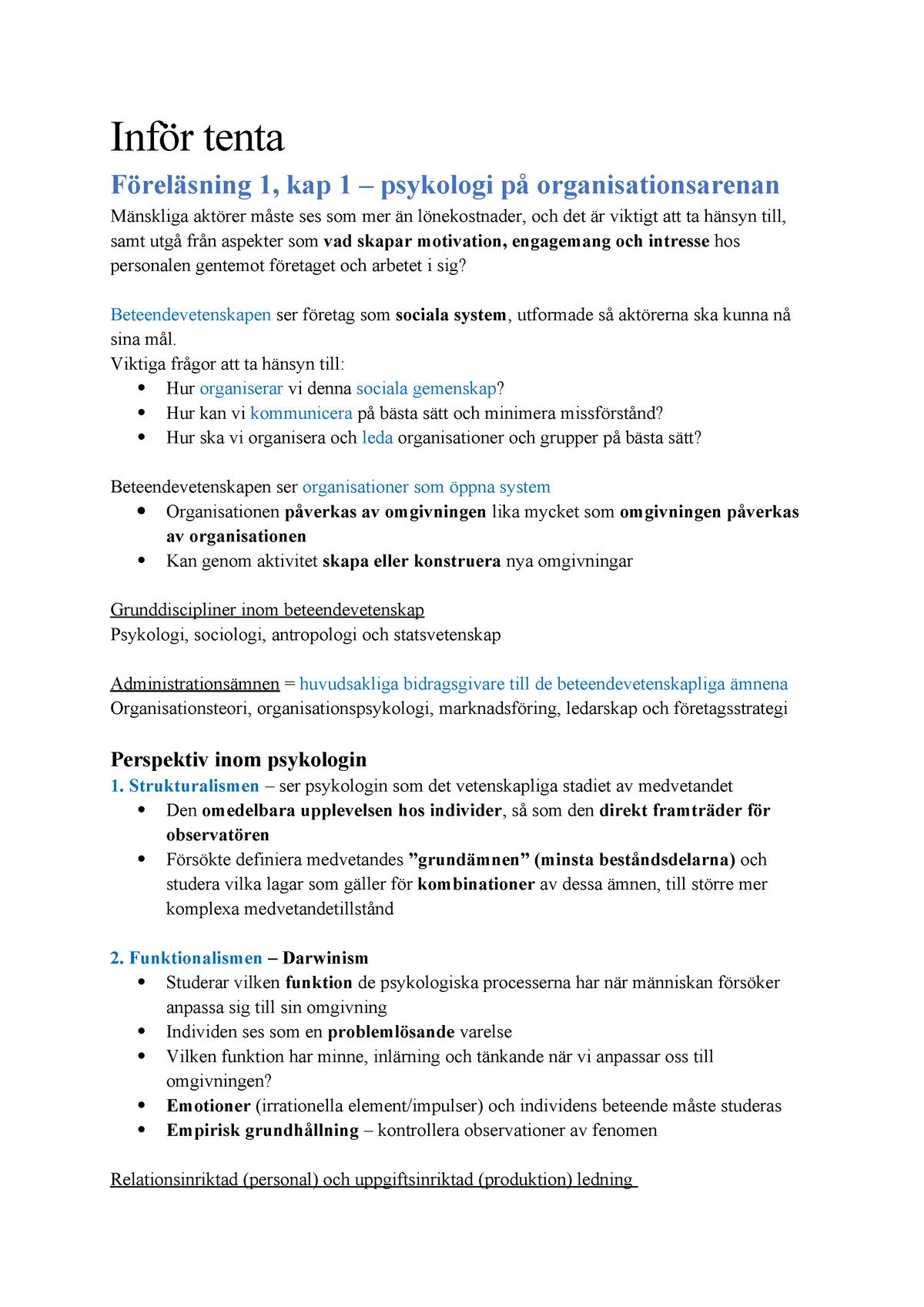 a7497613a6c4 Tentaanteckningar - 1007PS: Människa och arbetsliv - StuDocu
