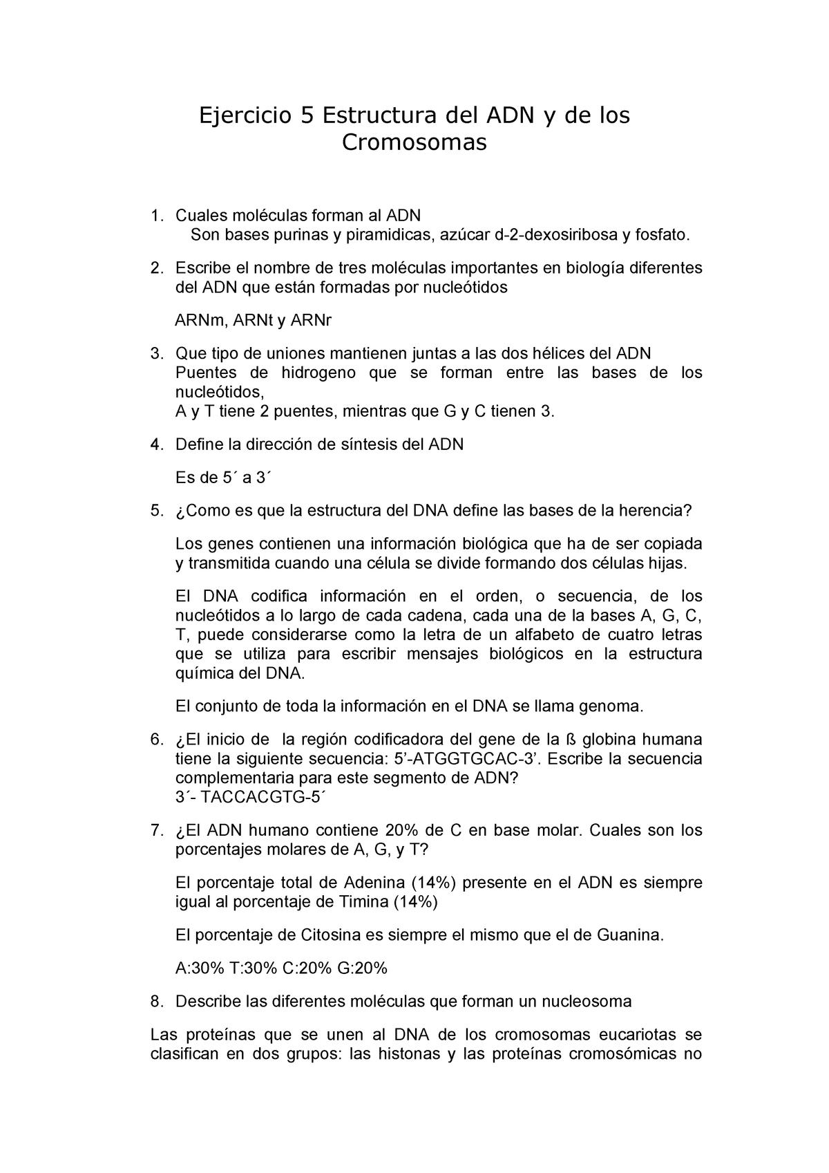 Ejercicio 5 Estructura Del Adn Contestado Biología Celular
