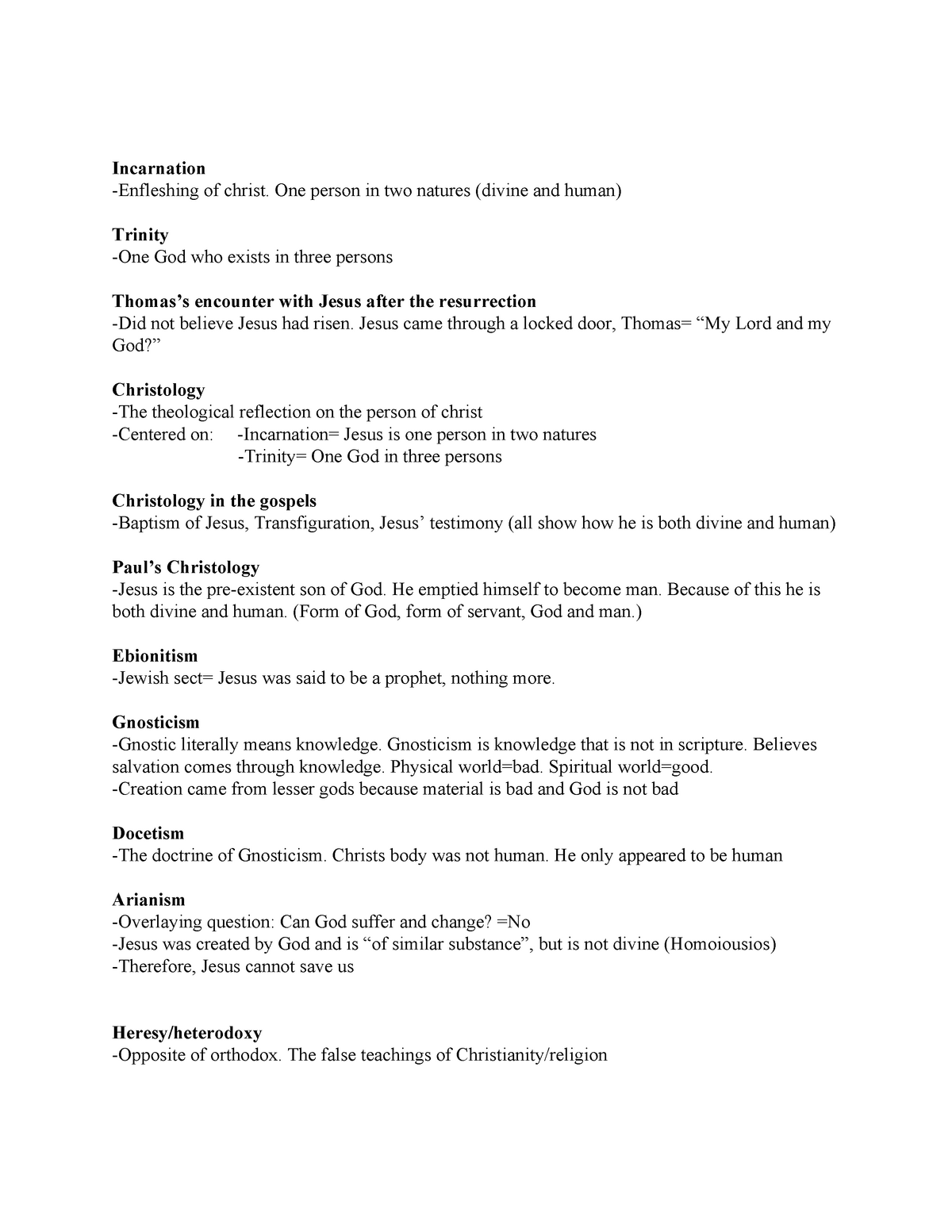 Theology Final Study Guide - THEO 193: Intro To Study Of