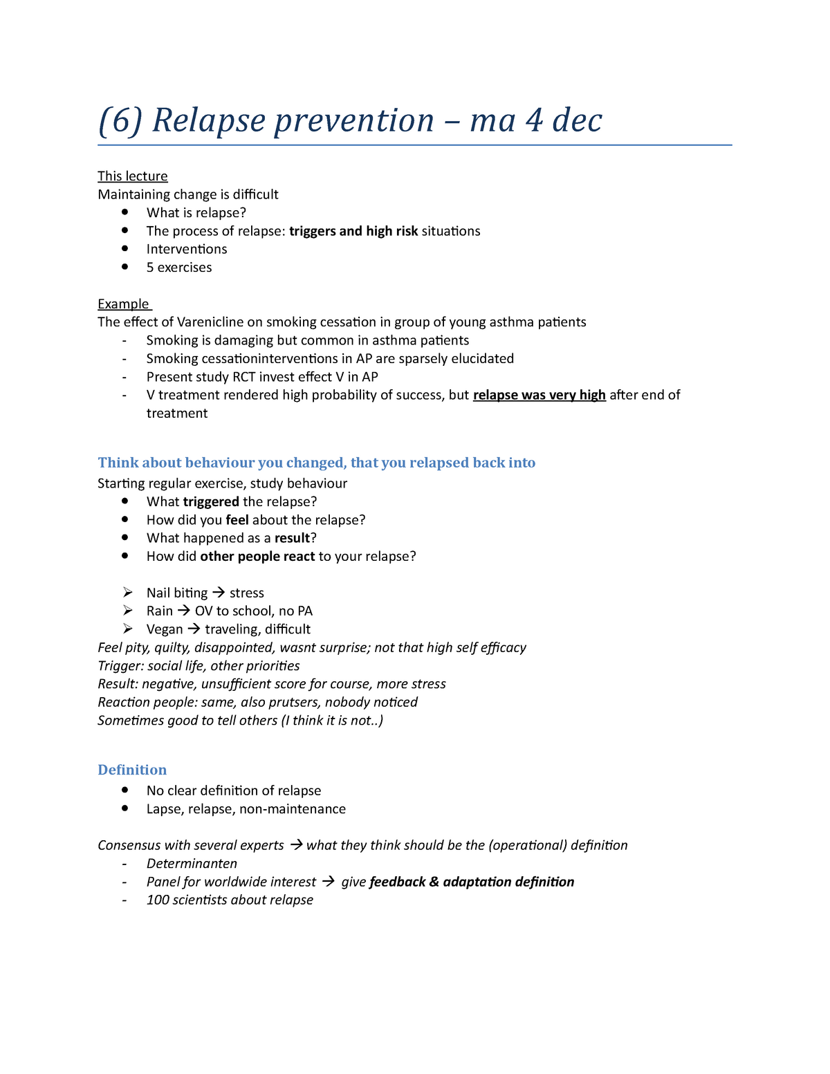 6) ma 4 dec - Relapse prevention - psych - AM_470730: Health