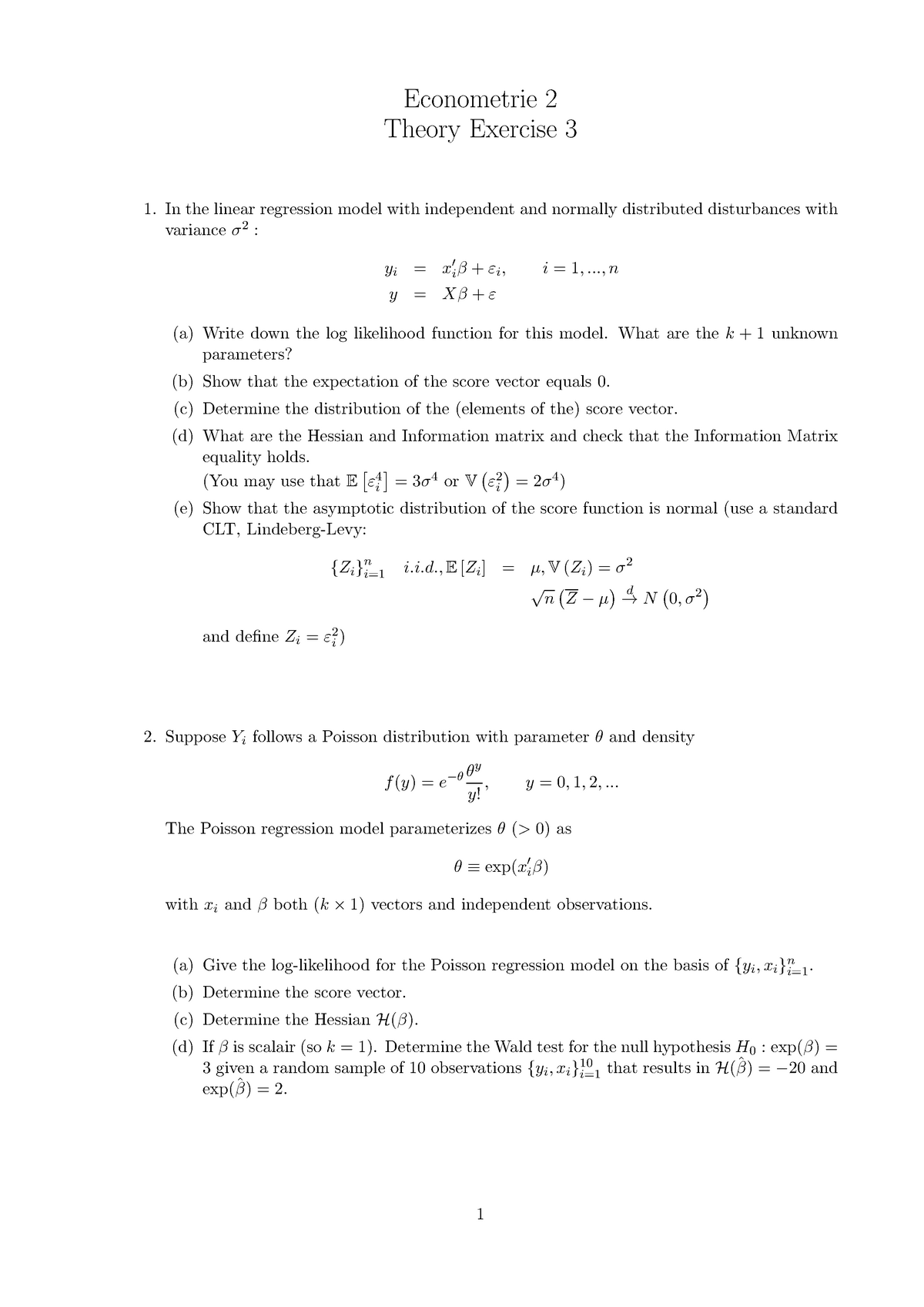 HW3 theory questions - 6012B0285Y: Econometrie 1 - StuDocu