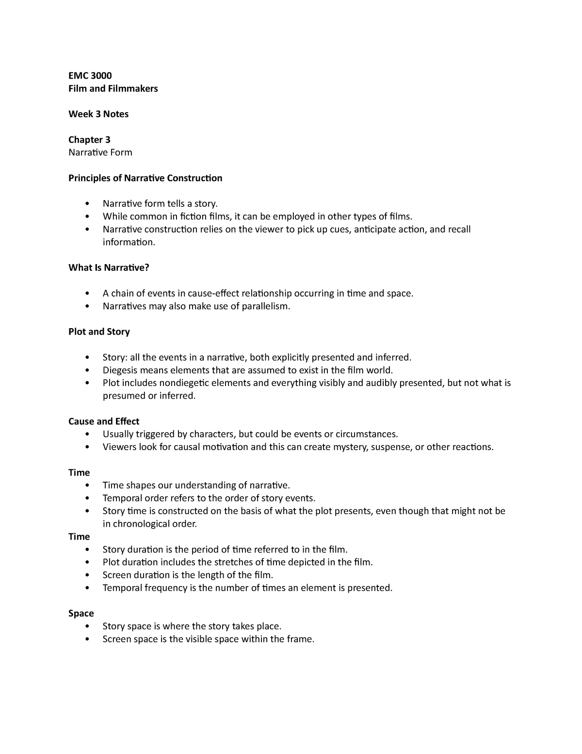 EMC 3000 week 3 ch 3 - Lecture notes 3 - EMC 3000: Films and