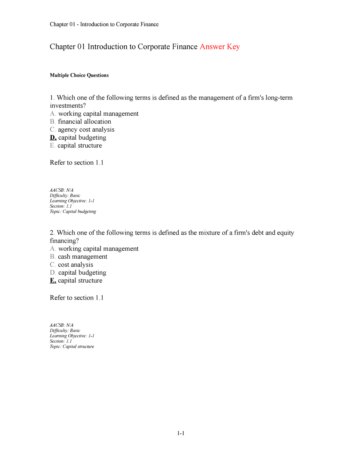 Chap001 - corporate finance chapter 1 test bank - fin402 ...