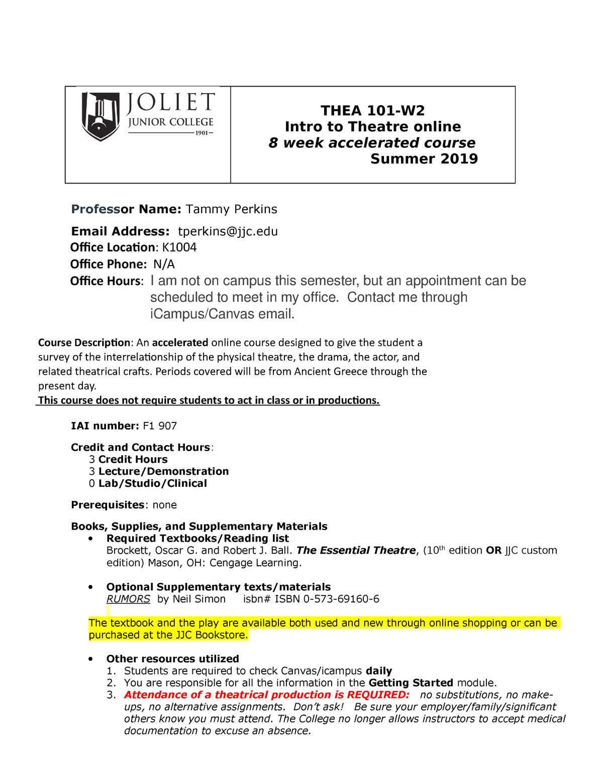 Thea101-W2 syllabus Summer 2019 - ENGLI 2105 - DuPage - StuDocu