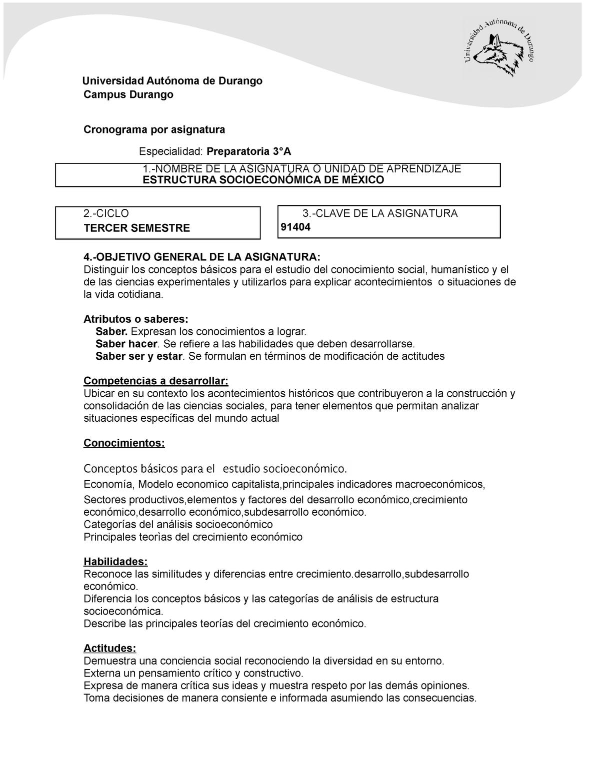 Cronograma De Estructura Socioeconomica De Mexico Taxx 304