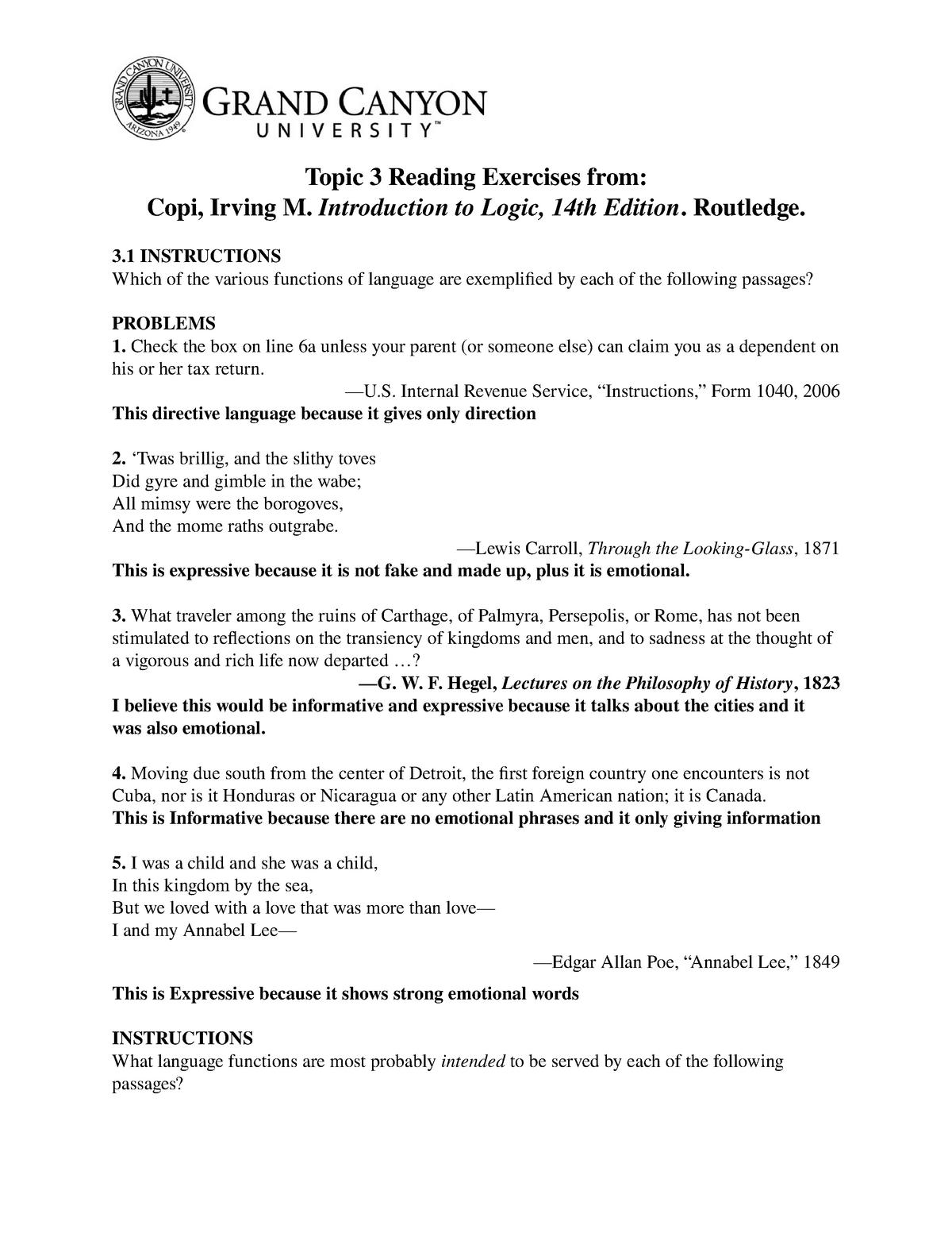 COM362 T3 Reading Exercises - COM-362: Argumentation and Advocacy