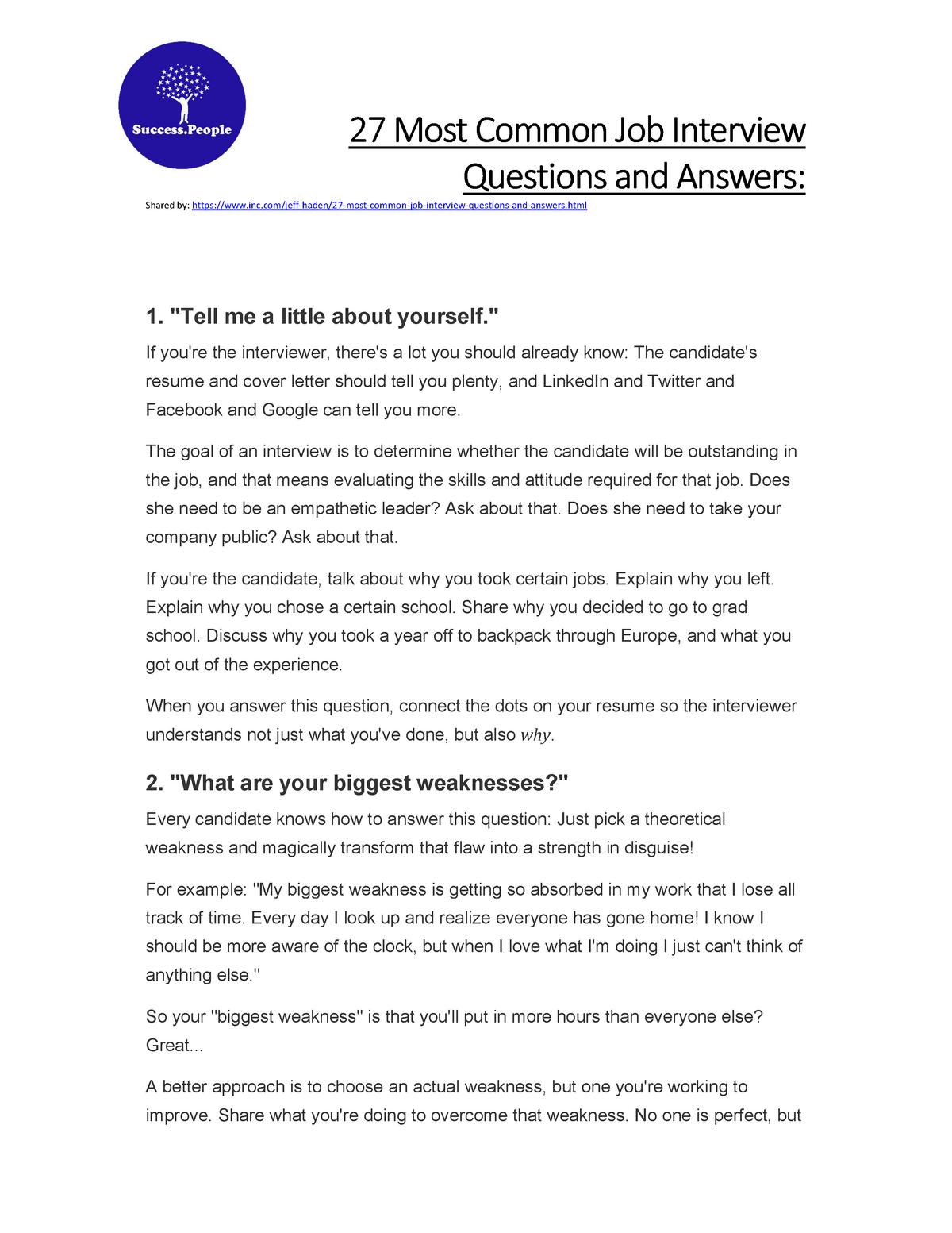 Questionsandanswers Job Interview Question S 210 Uitm Studocu