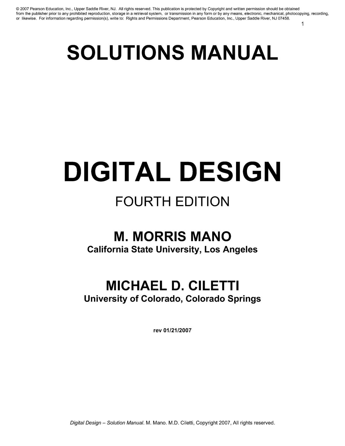 Solution Moris Mano 4th Ed Digital Logic Design Mct 241 Studocu
