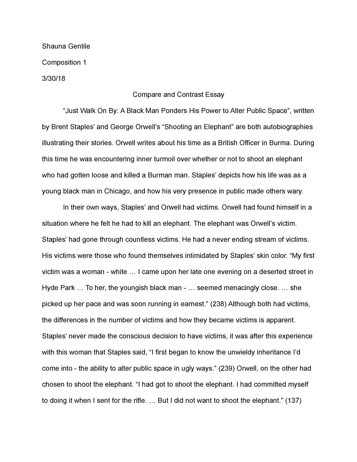 compare and contrast essay   engl  english composition i   studocu