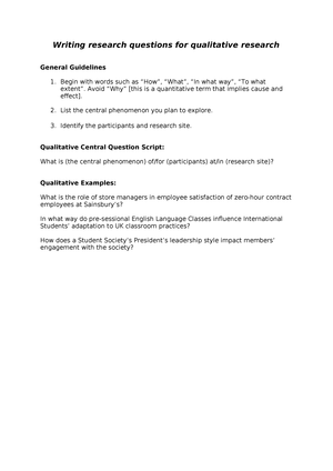 Writing research questions for qualitative research