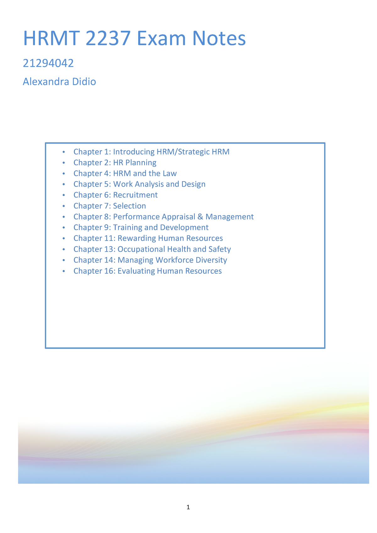 Summary Managing Human Resources chapters 1-16 - HRMT2237
