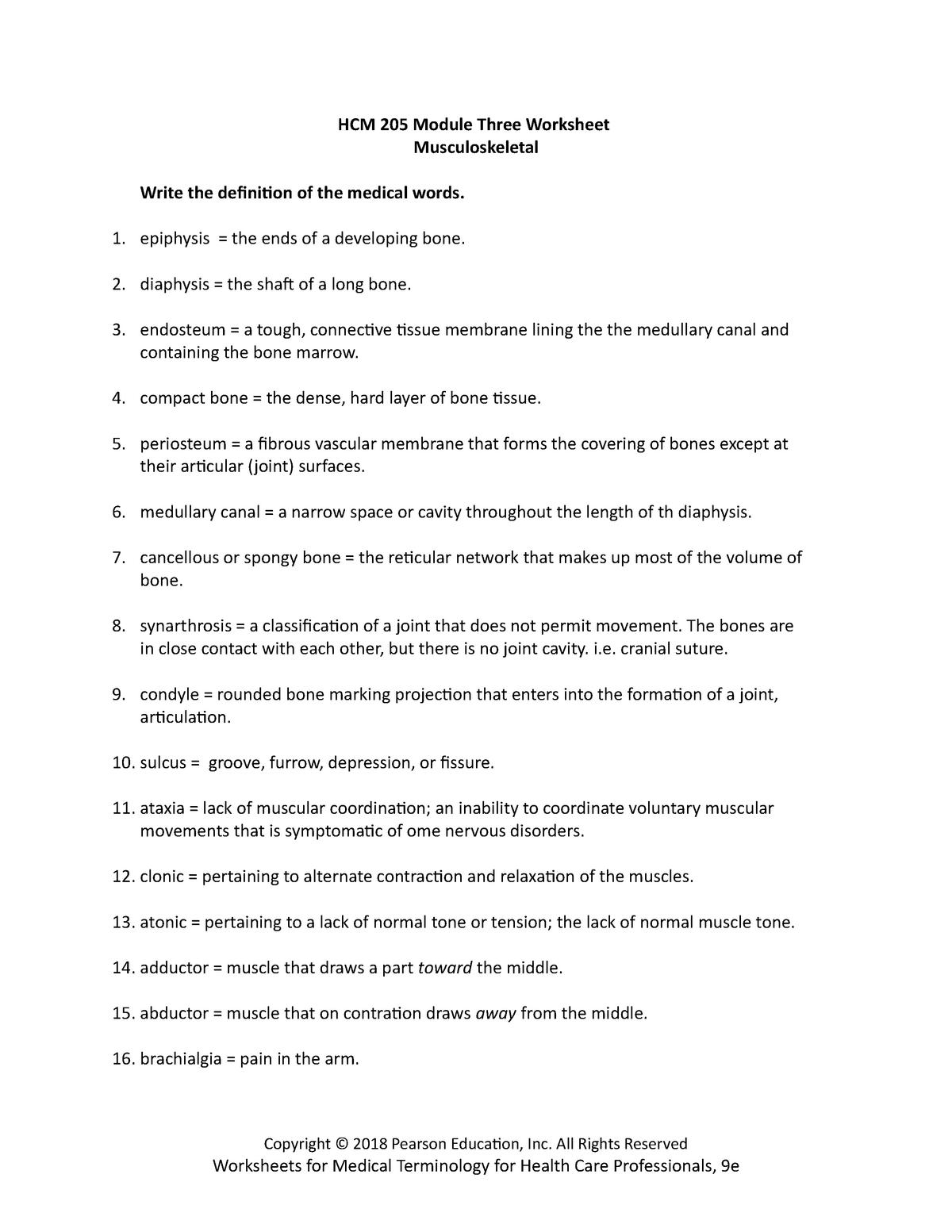HCM 205 Module Three Worksheet - HCM205 Medical Terminology