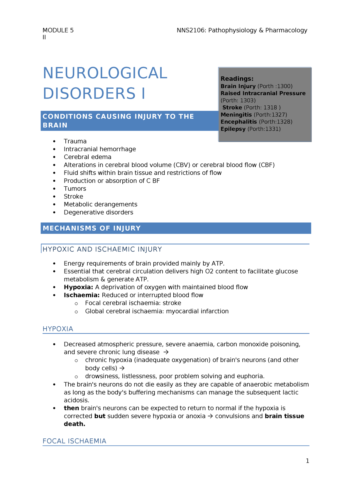 Lecture notes, Module 5, Neurological Disorders I - NNS2106