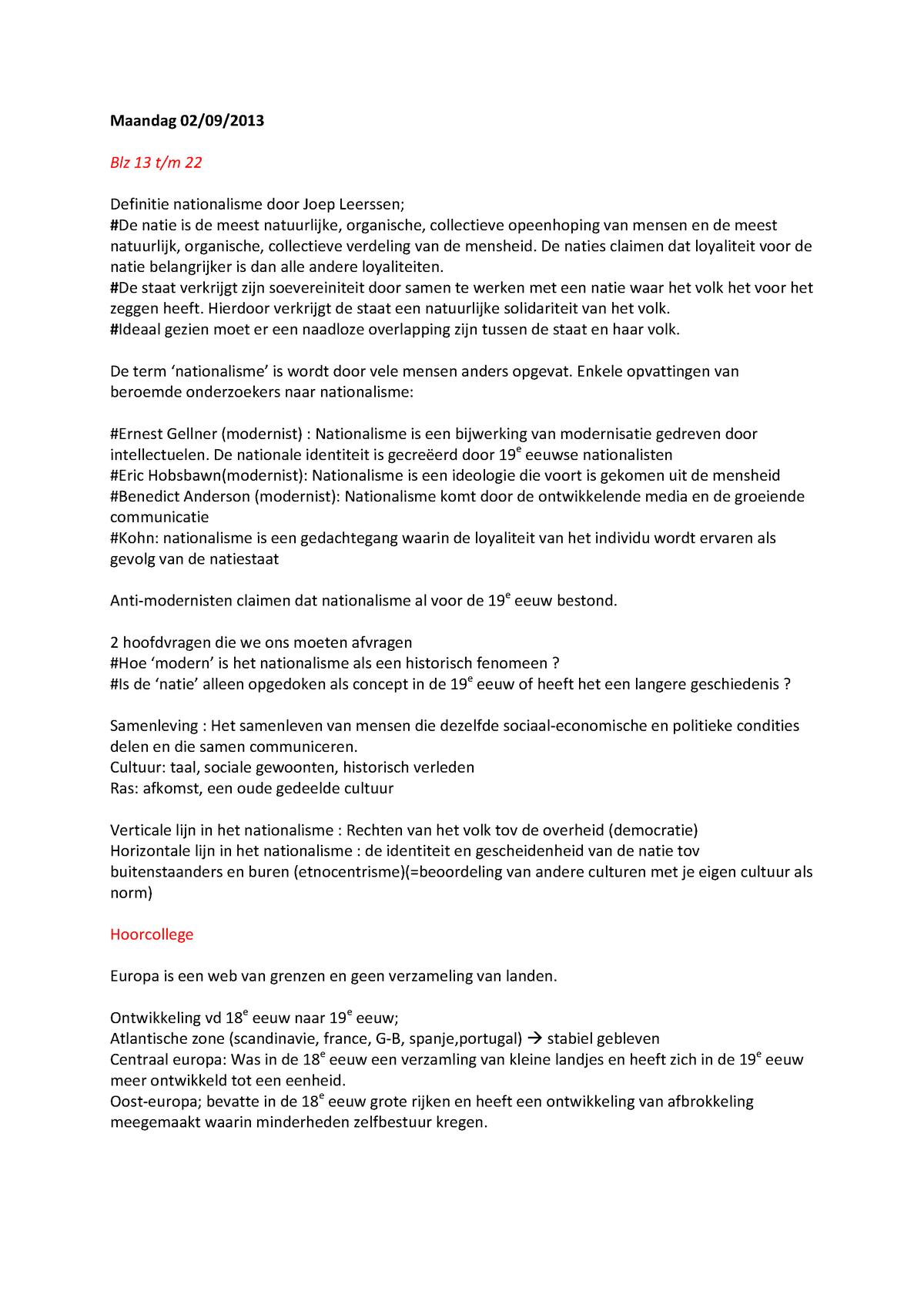 Aantekeningen Nationaal Denken In Europa College 1 Uva