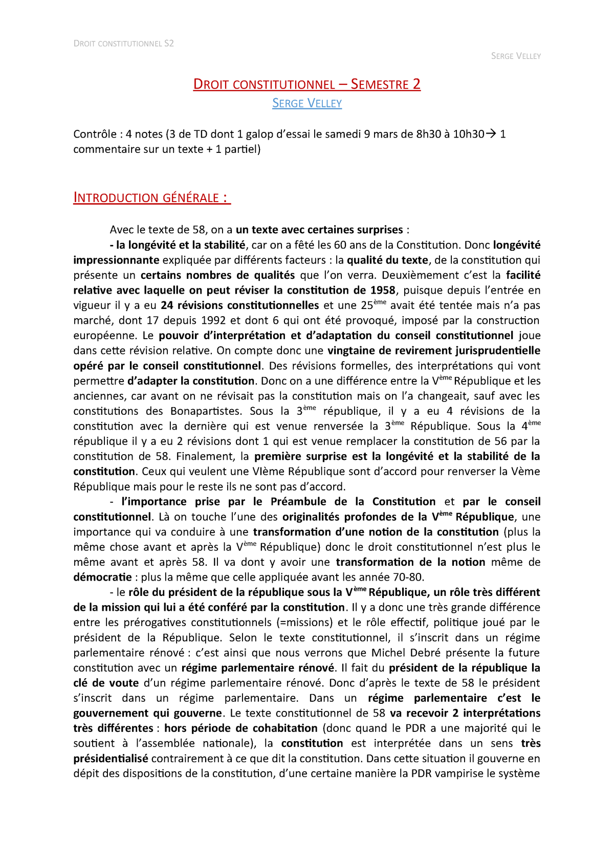 Droit constitutionnel - Semestre 2 - StuDocu