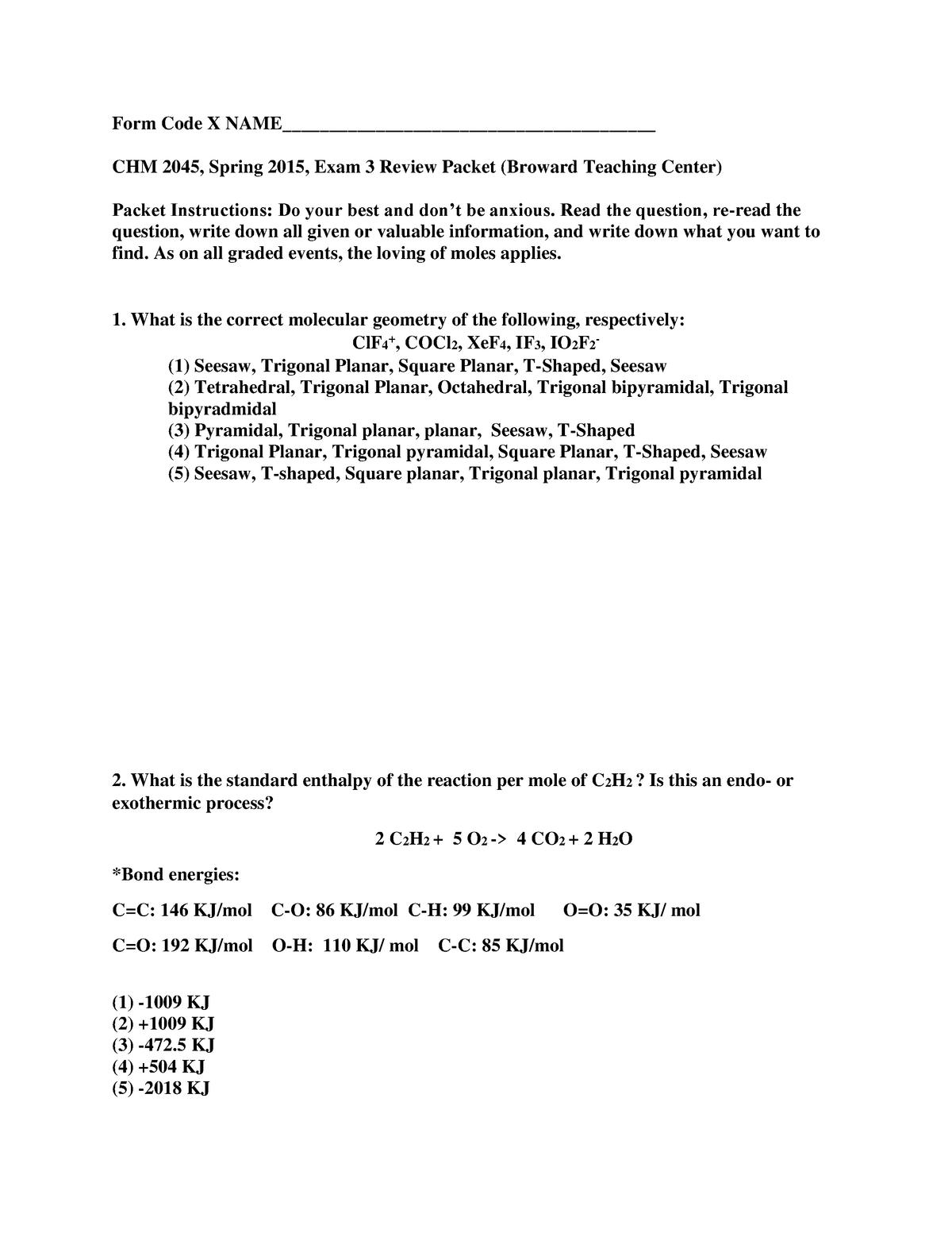 Exam 2015 - CHM 2045: General Chemistry - StuDocu