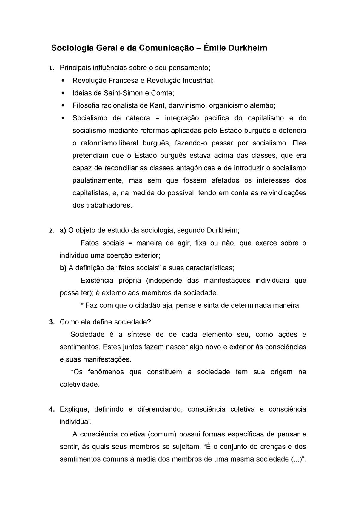 Roteiro de Estudos - Émile Durkheim - Sociologia - StuDocu