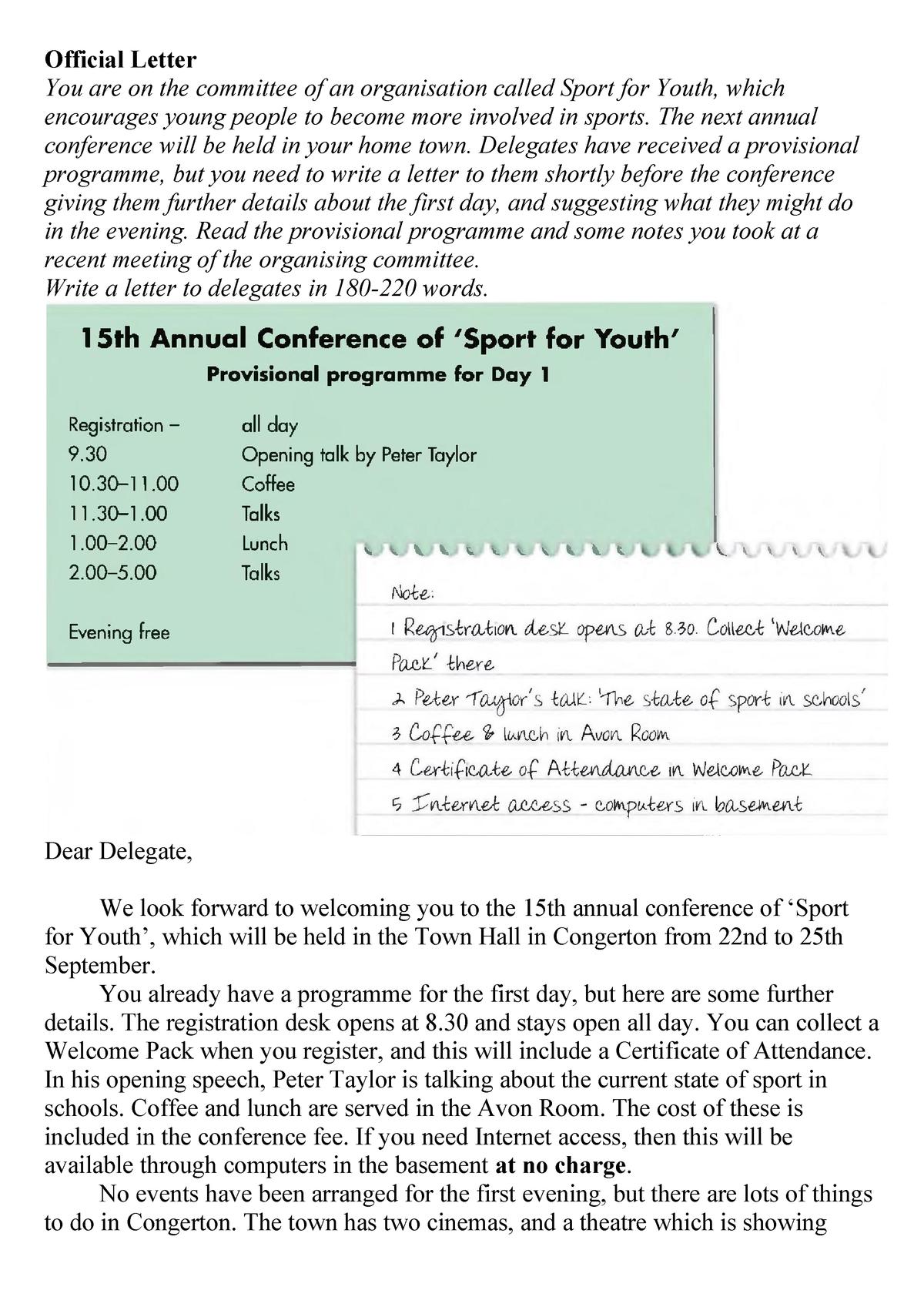 Formal Letter Writing Sample for CAE Exam - 30/34/101: Lingua