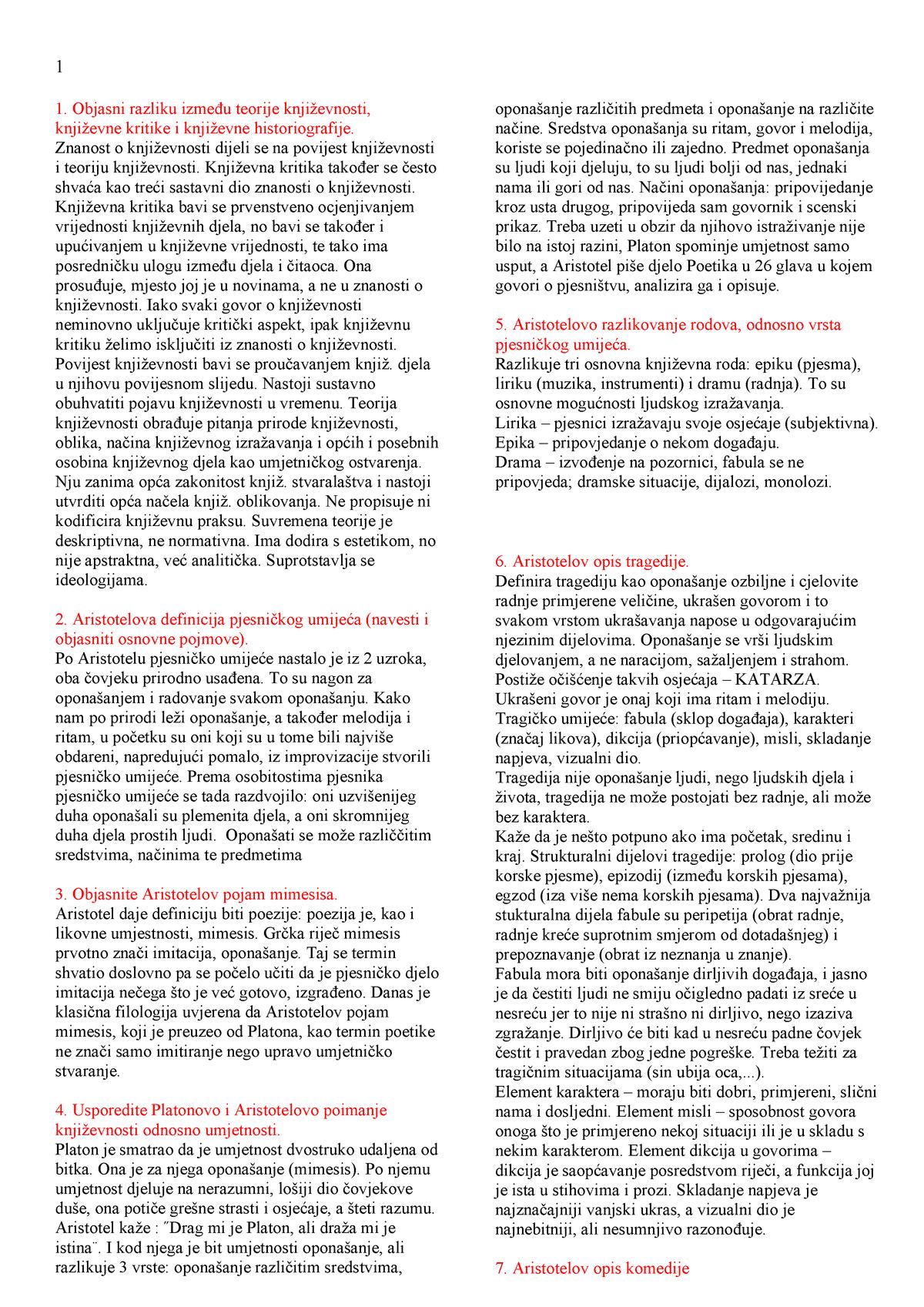 Otk-pitanja - Summary Osnove Teorije Književnosti - - StuDocu
