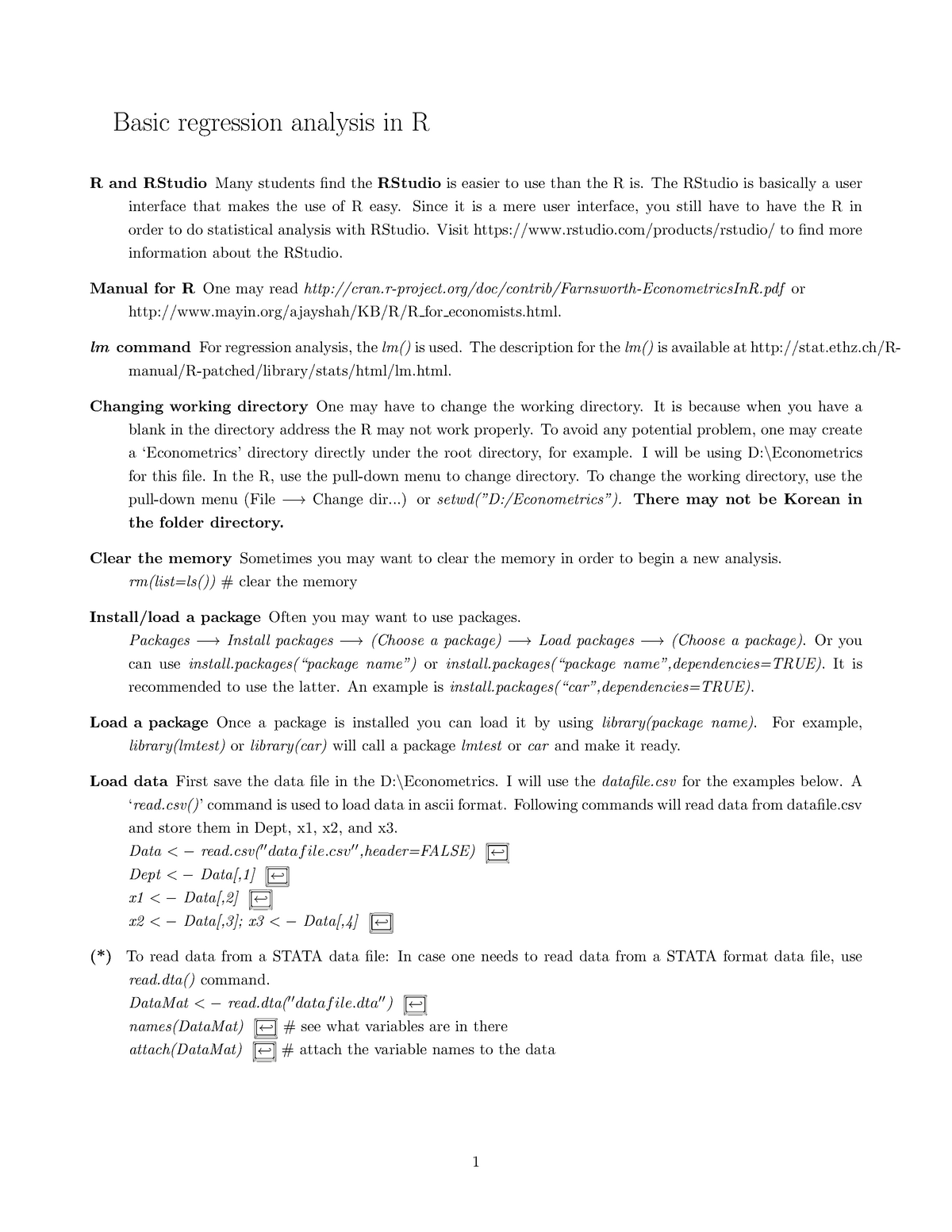 Introductions for using R - ECONOMETRICS I(English) ECON301 - StuDocu