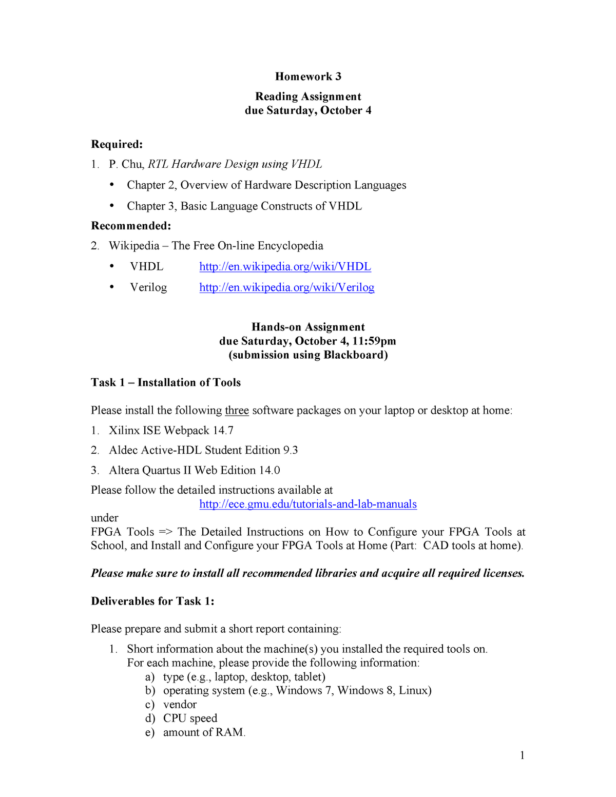 Seminar assignments - Homework 3 - ECE 545: Introduction To Vhdl