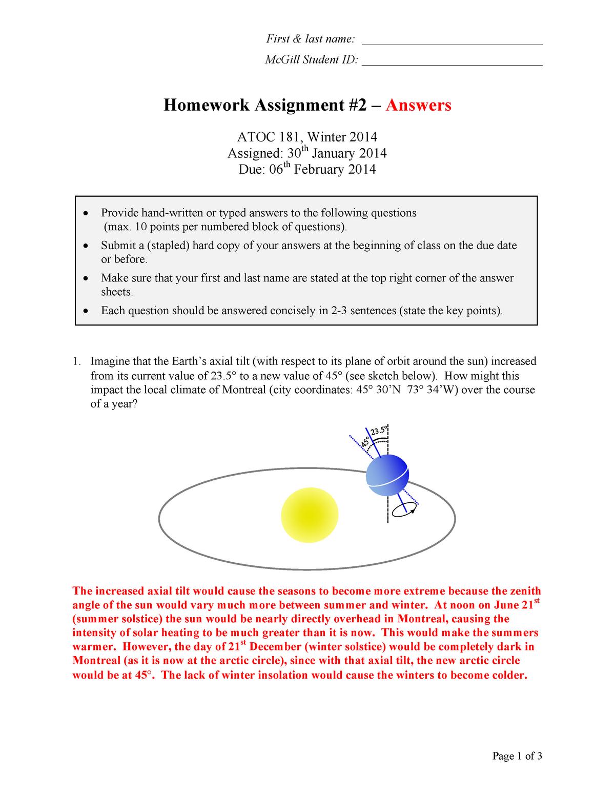 Homework Assignment 2 answers web - ATOC 181 - McGill - StuDocu