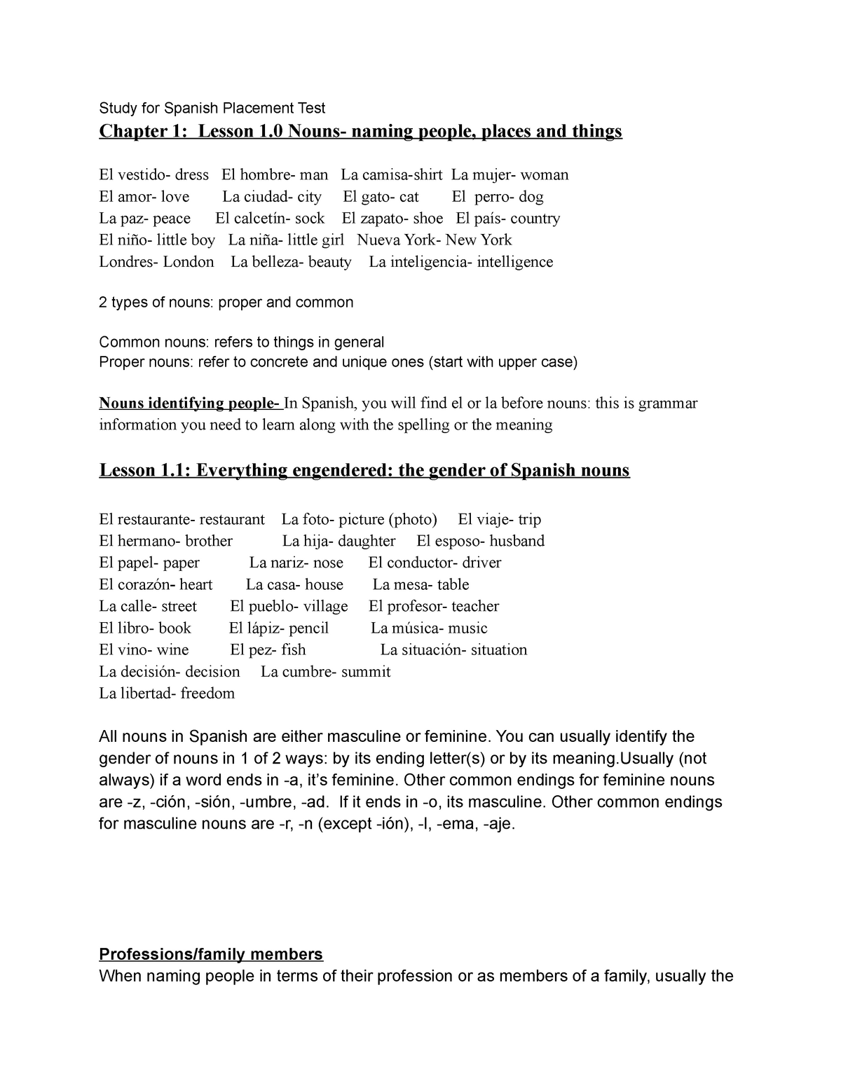 Introductory Lesson Chapter 1 - SPA 101 Beginning Spanish