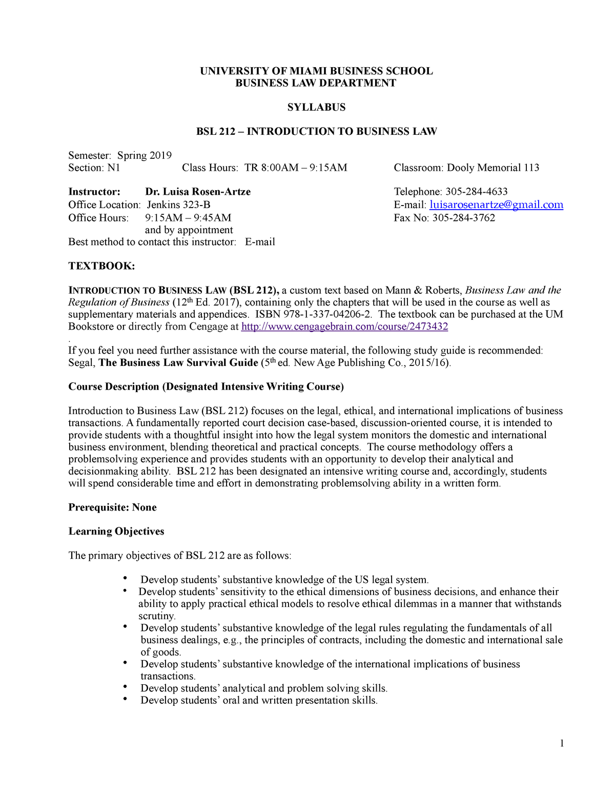 BSL212 Spring 2019 - Syllabus - BSL 212 Intro To Bus Law