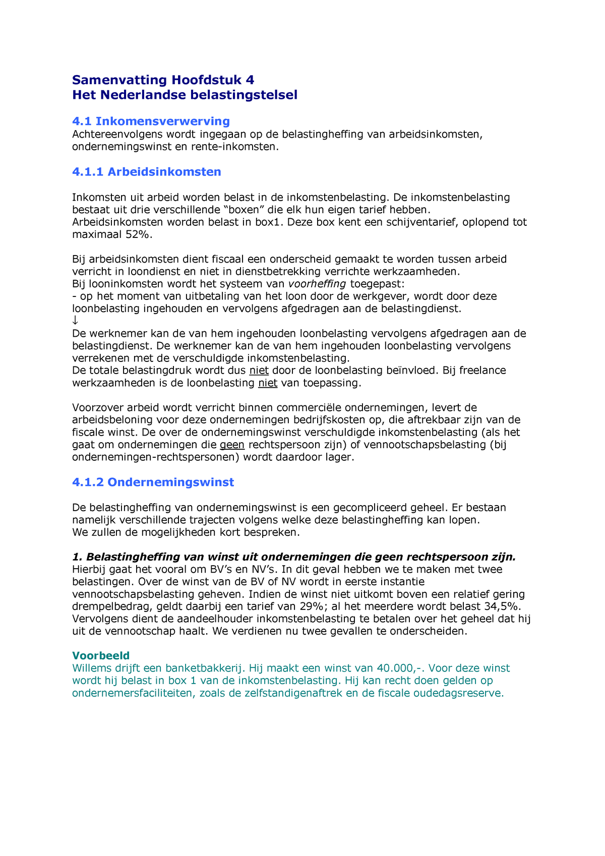 Samenvatting Belastingrecht - Het Nederlandse