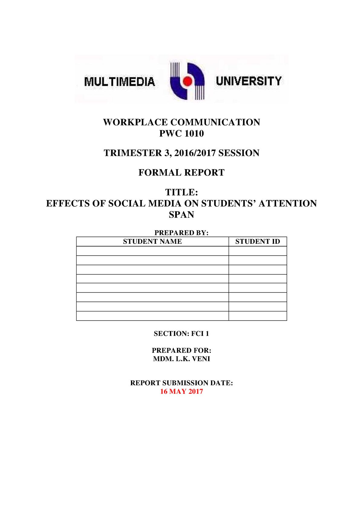 Assignment Formal Report Sample Studocu