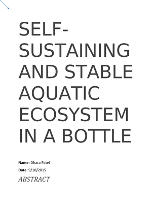 Practical - Report 2015 - Selfsustaining and Stable Aquatic