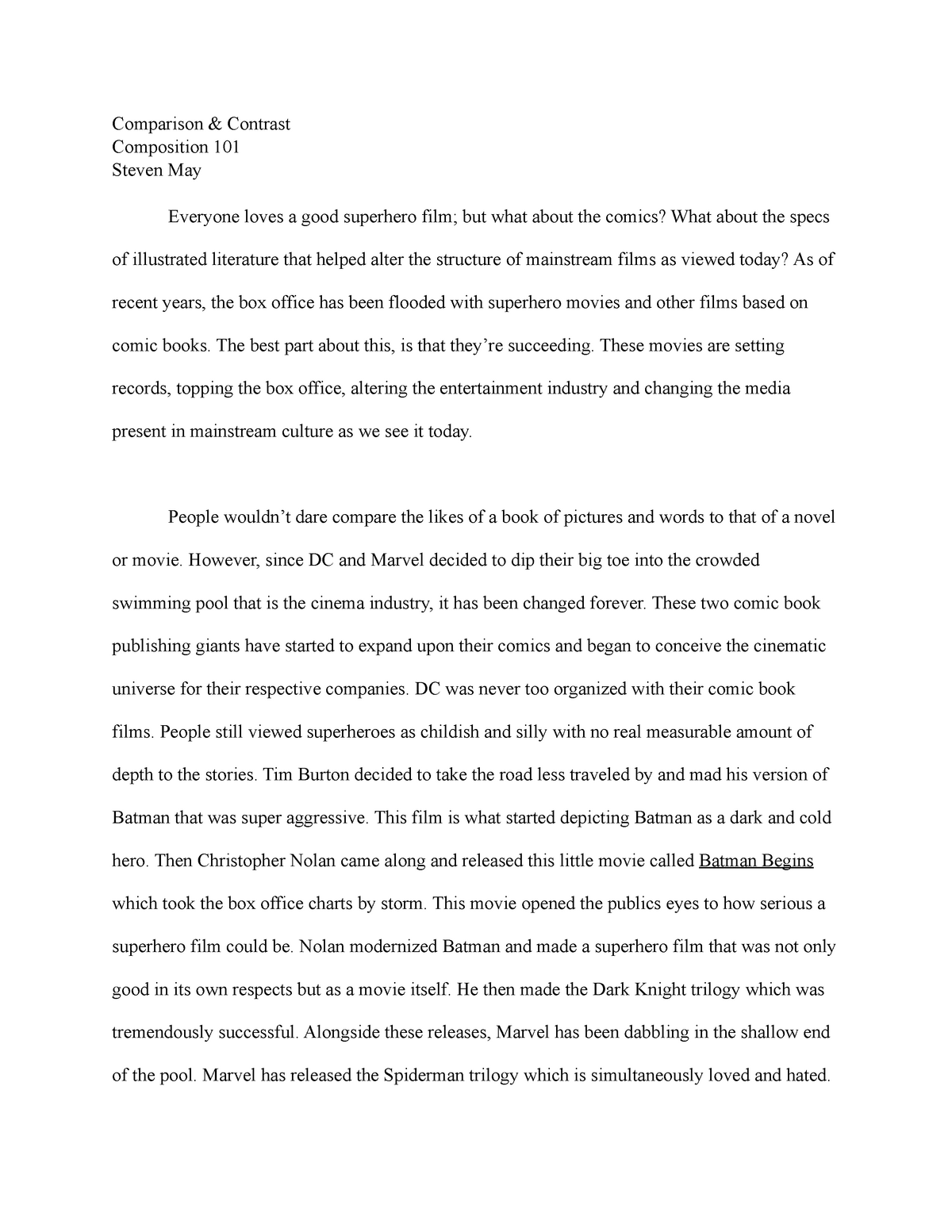 Book comparison essay