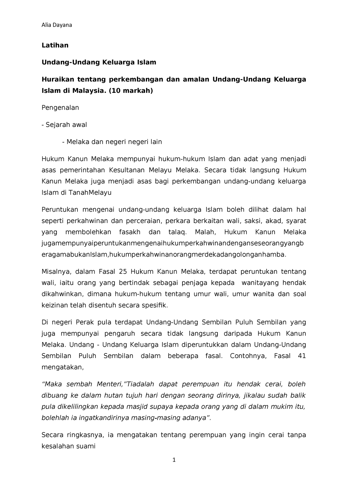 Islamic Fam Sekali Ngan Jawapan Family Law Lia 1008 Studocu