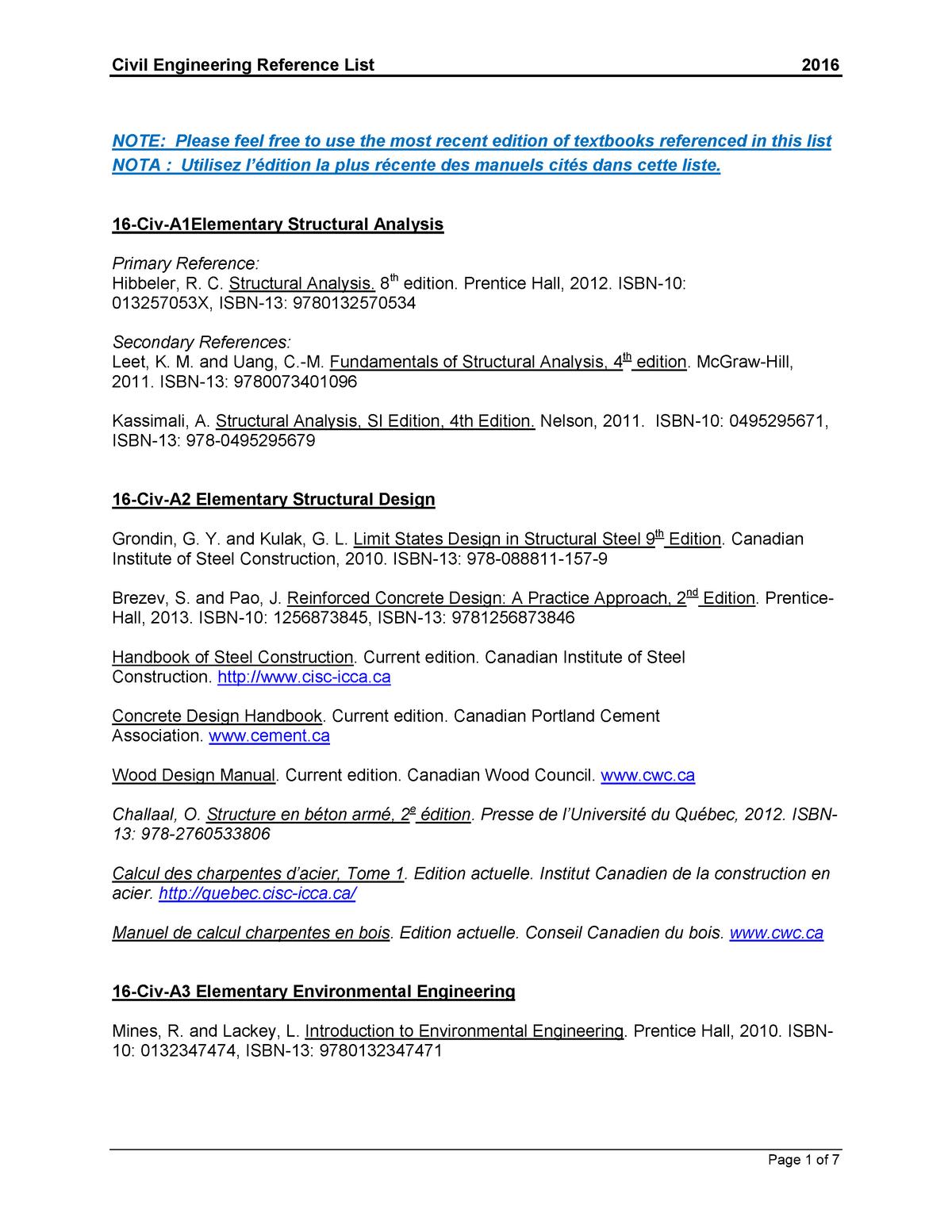 Civil reference textbooks - Ce 212 3 - U of S - StuDocu