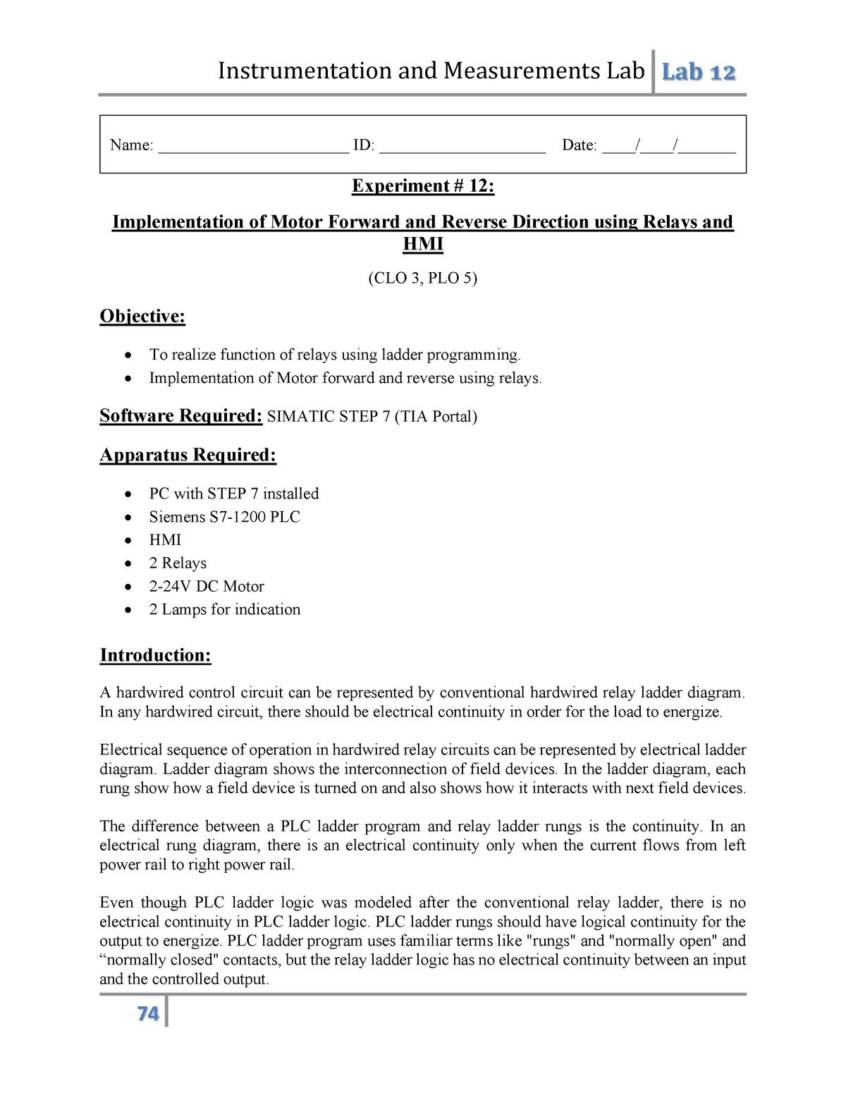 Lab 12 Instrumentation And Measurements Lab Manual Studocu