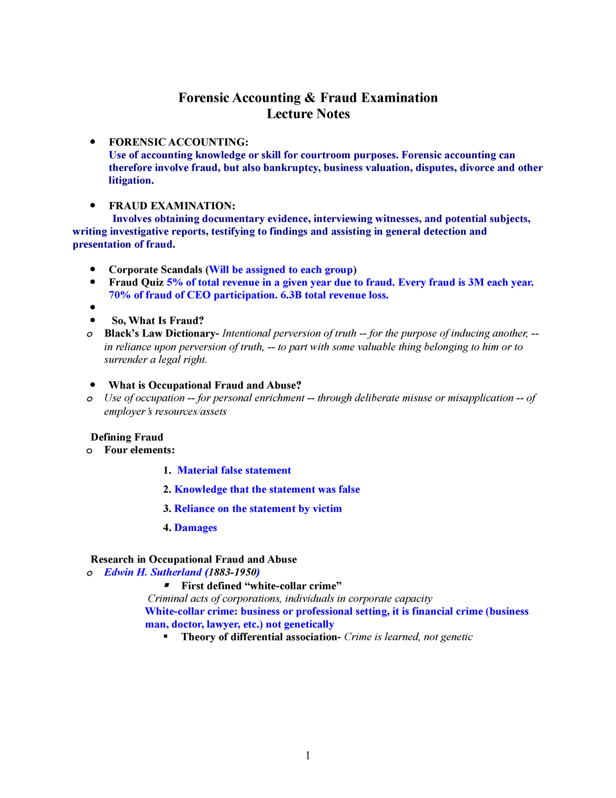Lecture 1 notes 2019 - ACCT 8710 Forensic Accounting - StuDocu