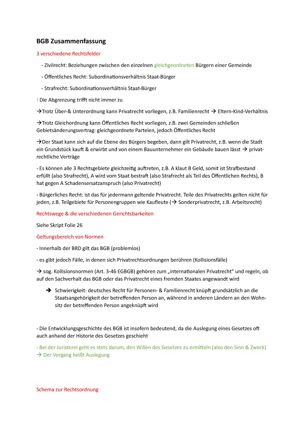 Zusammenfassung Bürgerliches Recht   BGB Zusammenfassung 20 ...