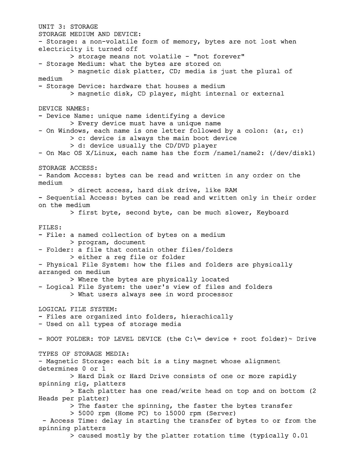 Unit 3 - Exam Material Document Notes - CIS 101 - StuDocu