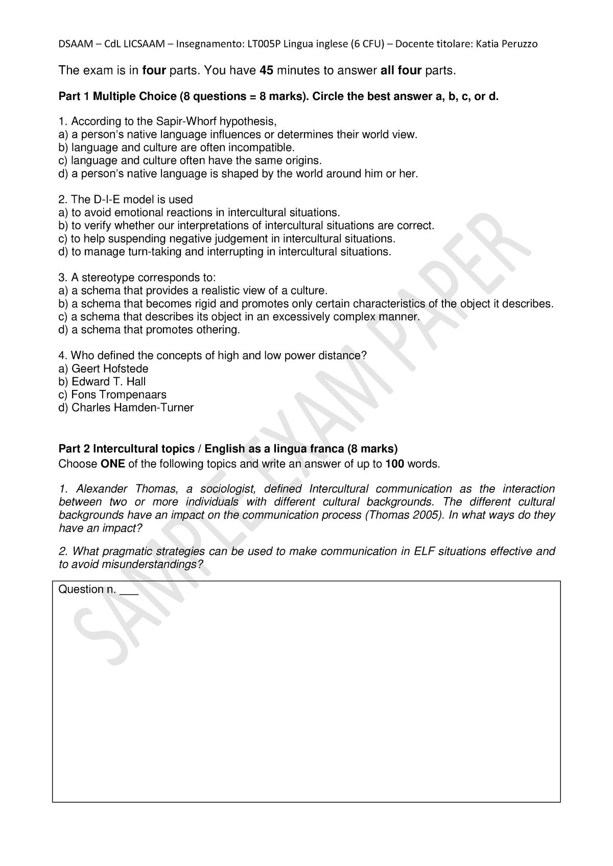 LT005P Intercultural Communication Sample exam questions