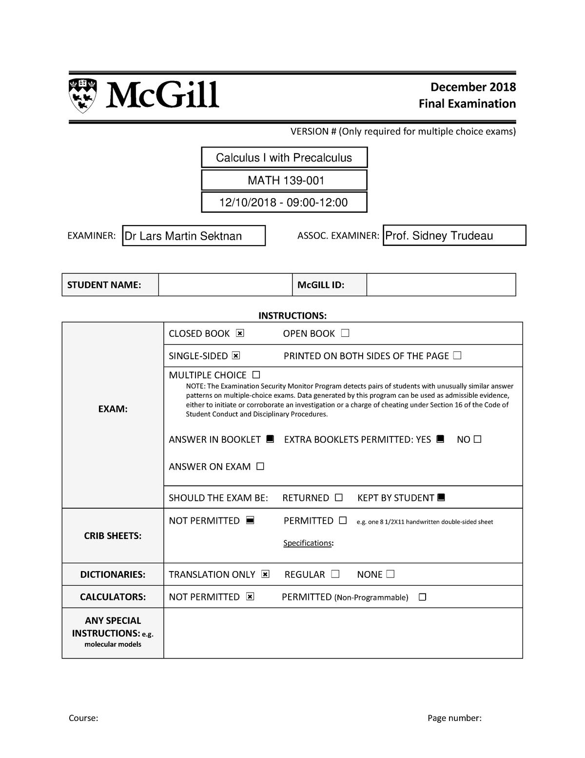 Precalculus Semester 2 Exam Multiple Choice