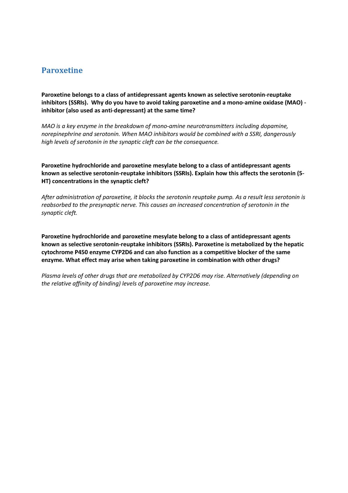 Paroxetine - vragen drugleaflet - HNE-23306: Pharmacology