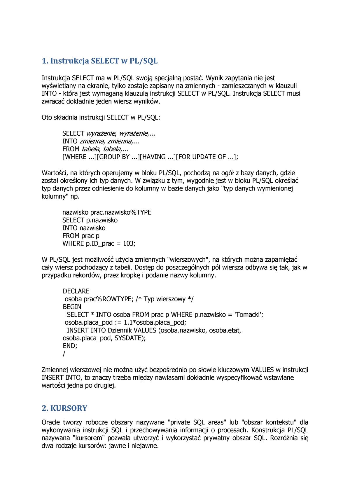 Z9 Plsql Kursory Streszczenie Bazy Danych I K Po Studocu