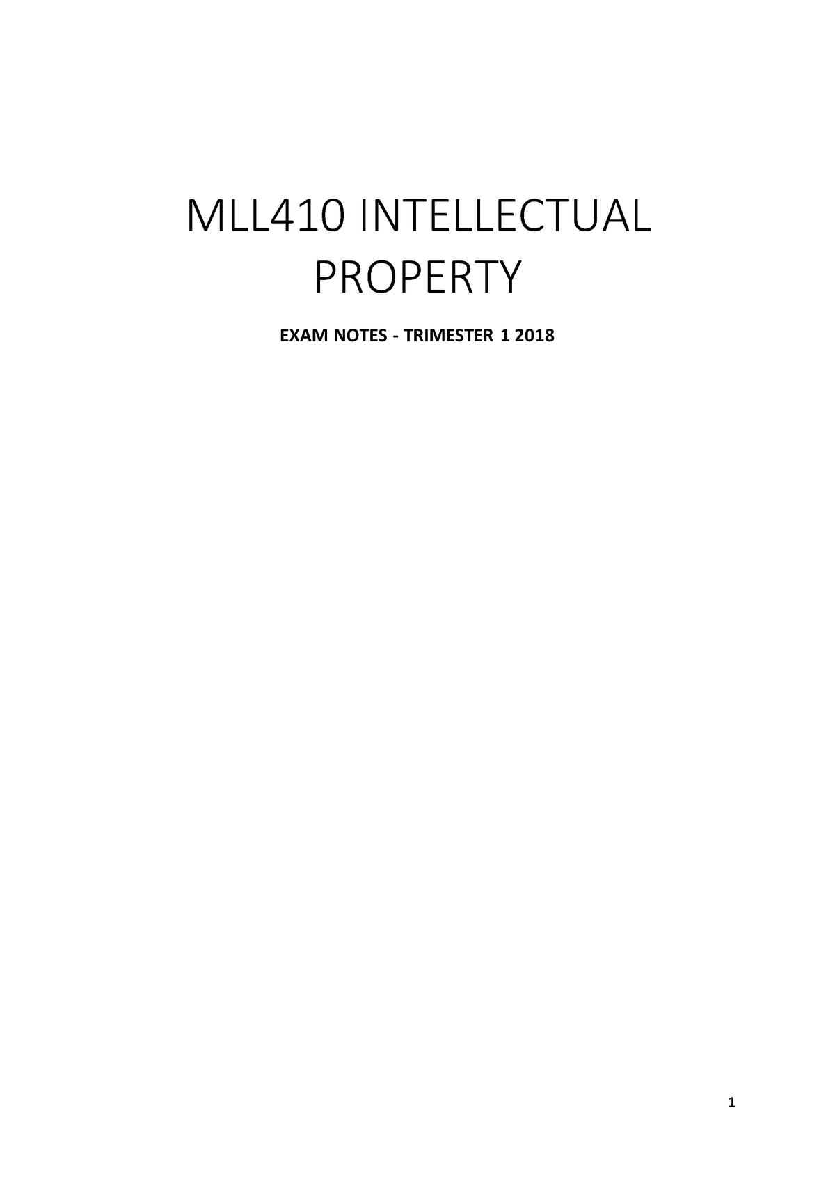 HD Intellectual Property exam notes - MLL410 - Deakin - StuDocu